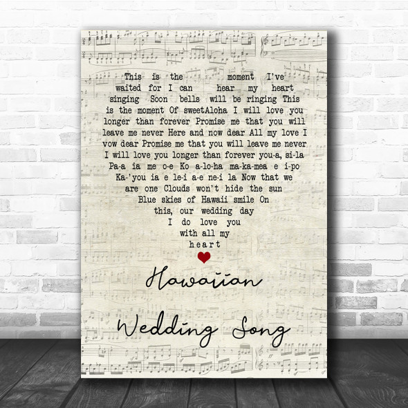 Elvis Presley Hawaiian Wedding Song Script Heart Song Lyric Quote Print