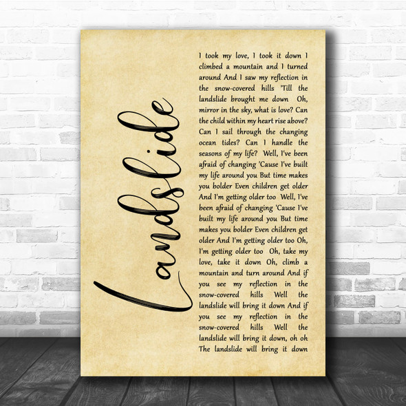 Fleetwood Mac Landslide Rustic Script Song Lyric Quote Print