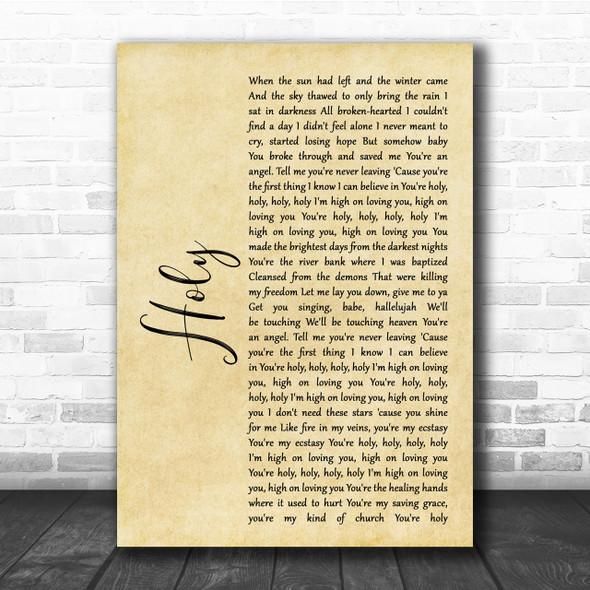 Florida Georgia Line Holy Rustic Script Song Lyric Quote Print