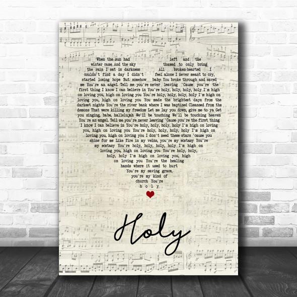 Florida Georgia Line Holy Script Heart Song Lyric Quote Print