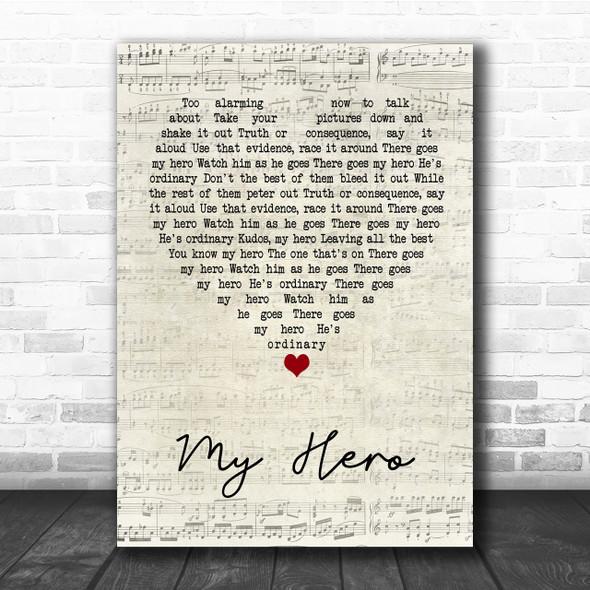 Foo Fighters My Hero Script Heart Quote Song Lyric Print