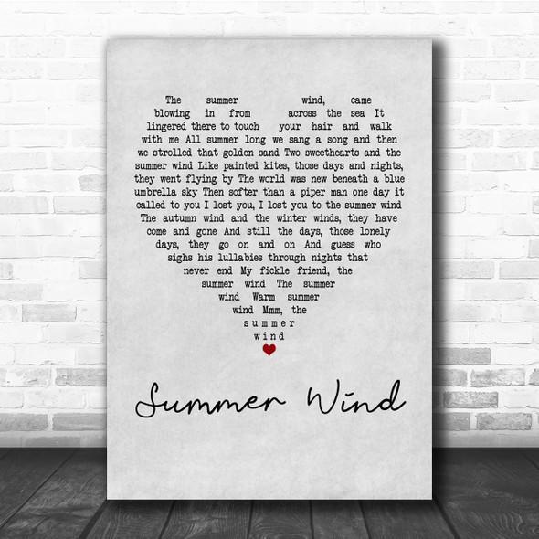 Frank Sinatra Summer Wind Grey Heart Quote Song Lyric Print