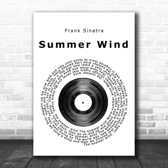 Frank Sinatra Summer Wind Vinyl Record Song Lyric Quote Print
