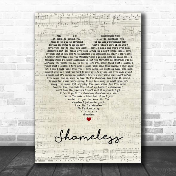 Garth Brooks Shameless Script Heart Quote Song Lyric Print
