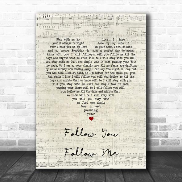 Genesis Follow You Follow Me Script Heart Song Lyric Quote Print
