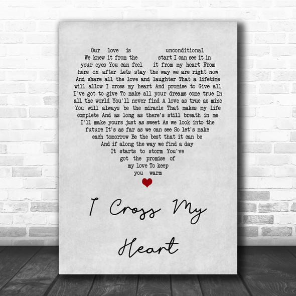 George Strait I Cross My Heart Grey Heart Quote Song Lyric Print