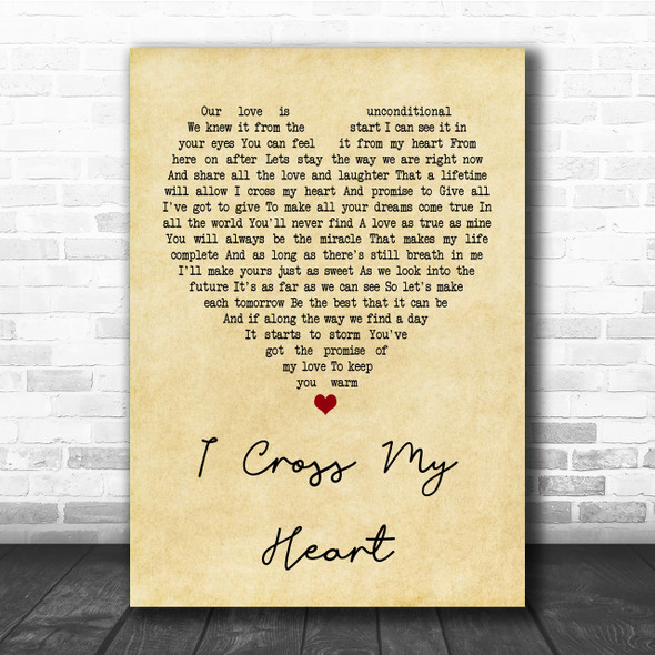 George Strait I Cross My Heart Vintage Heart Quote Song Lyric Print