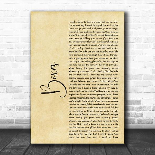Goo Goo Dolls Boxes Rustic Script Song Lyric Quote Print