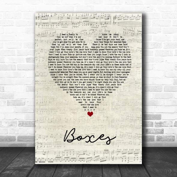 Goo Goo Dolls Boxes Script Heart Song Lyric Quote Print