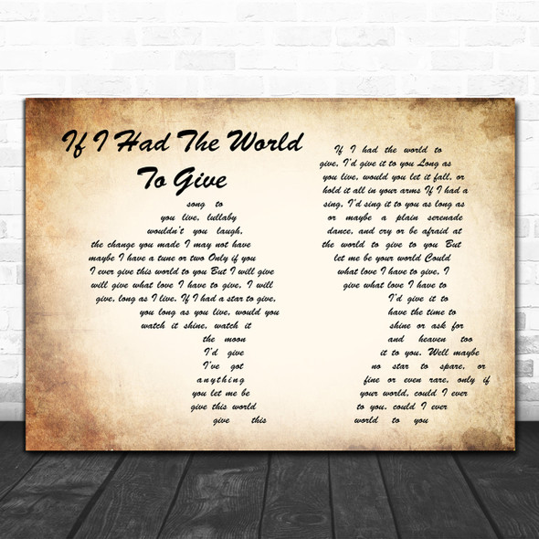 Grateful Dead If I Had The World To Give Man Lady Couple Song Lyric Quote Print