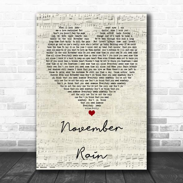 Guns N' Roses November Rain Script Heart Quote Song Lyric Print