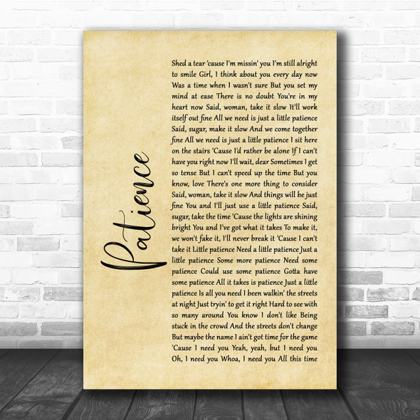 Guns N' Roses Patience Rustic Script Song Lyric Quote Print