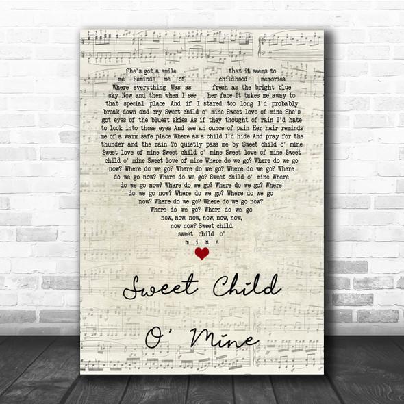 Guns N' Roses Sweet Child O' Mine Script Heart Song Lyric Quote Print