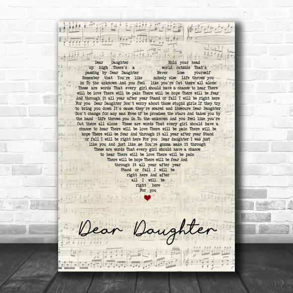 Halestorm Dear Daughter Script Heart Song Lyric Quote Print
