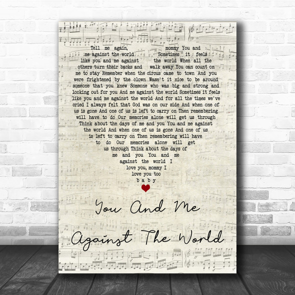 Helen Reddy You And Me Against The World Script Heart Quote Song Lyric Print
