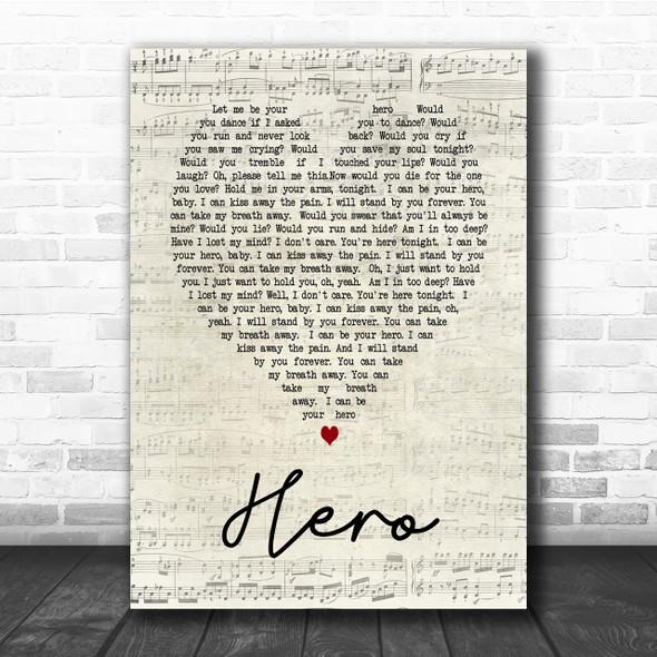 Hero Enrique Iglesias Script Heart Song Lyric Quote Print