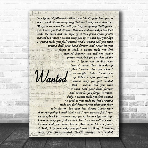 Hunter Hayes Wanted Song Lyric Vintage Script Quote Print