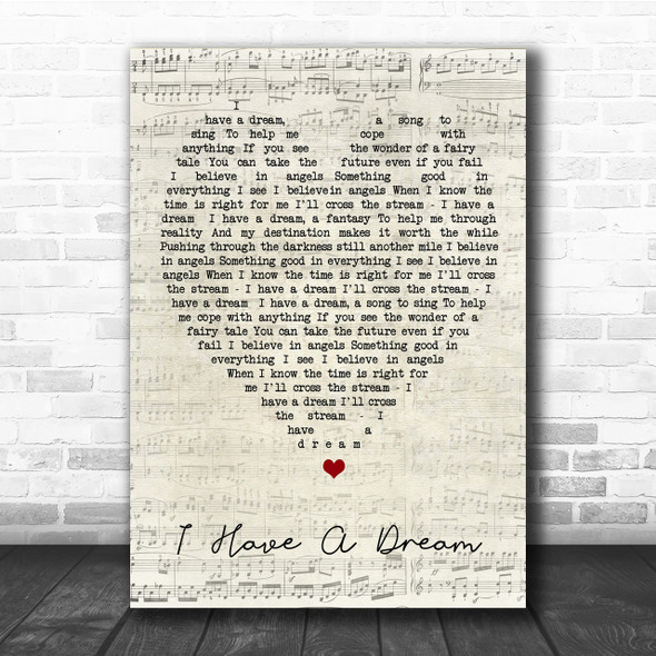 I Have A Dream ABBA Script Heart Quote Song Lyric Print