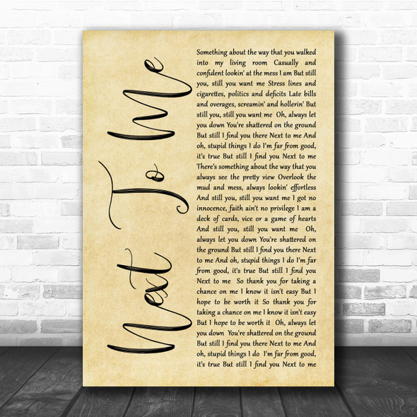 Imagine Dragons Next To Me Rustic Script Song Lyric Quote Print