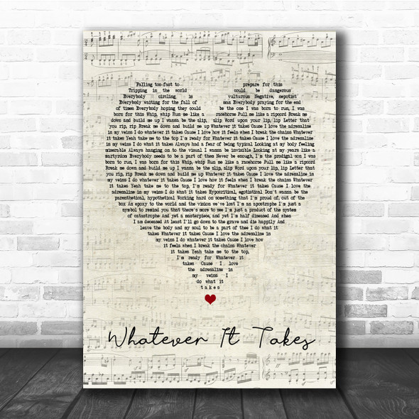 Imagine Dragons Whatever It Takes Script Heart Song Lyric Quote Print