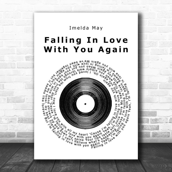 Imelda May Falling In Love With You Again Vinyl Record Song Lyric Quote Print