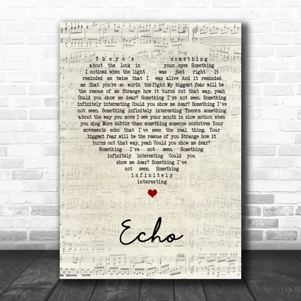 Incubus Echo Script Heart Song Lyric Quote Print