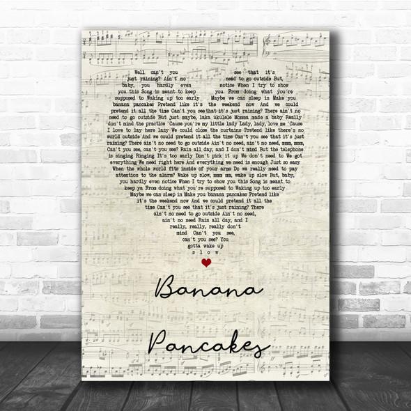 Jack Johnson Banana Pancakes Script Heart Song Lyric Quote Print
