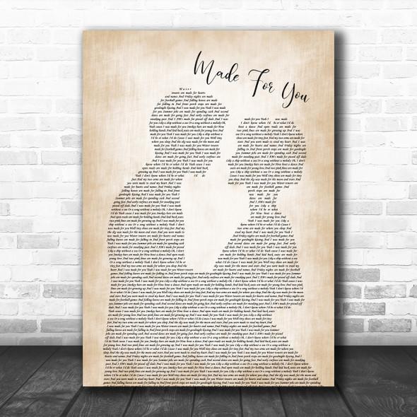Jake Owen Made For You Man Lady Bride Groom Wedding Print
