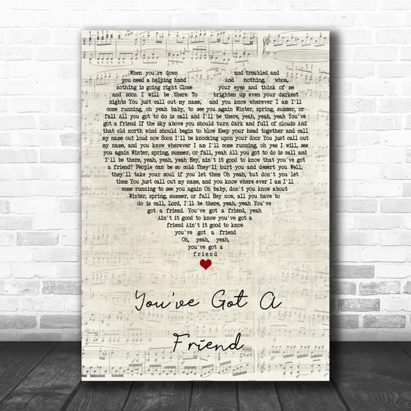 James Taylor You've Got A Friend Script Heart Quote Song Lyric Print