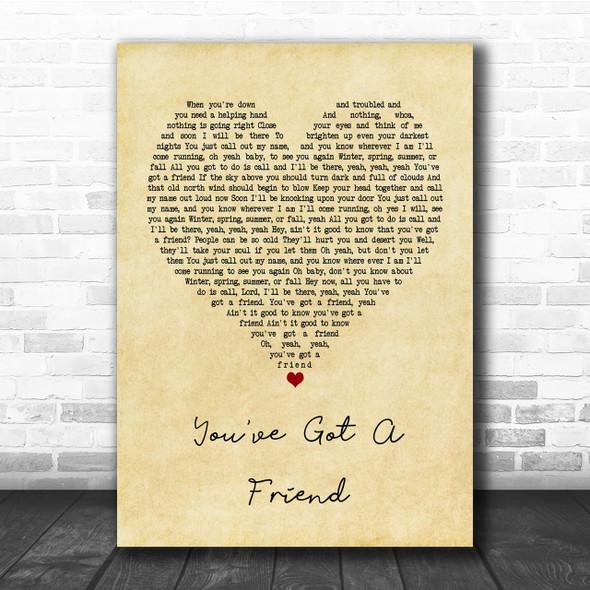 James Taylor You've Got A Friend Vintage Heart Quote Song Lyric Print