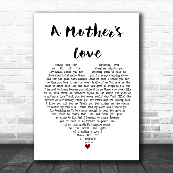 Jim Brickman A Mother's Love Heart Song Lyric Quote Print