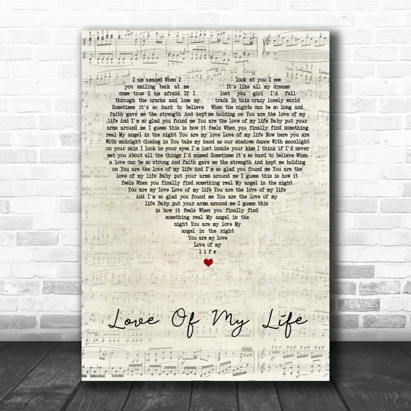 Jim Brickman Love Of My Life Script Heart Song Lyric Quote Print