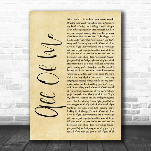 John Legend All Of Me Rustic Script Song Lyric Quote Print