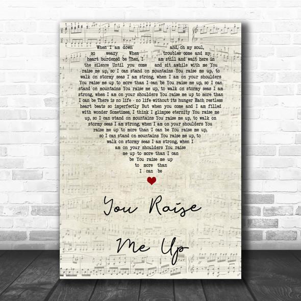 Josh Groban You Raise Me Up Script Heart Song Lyric Quote Print