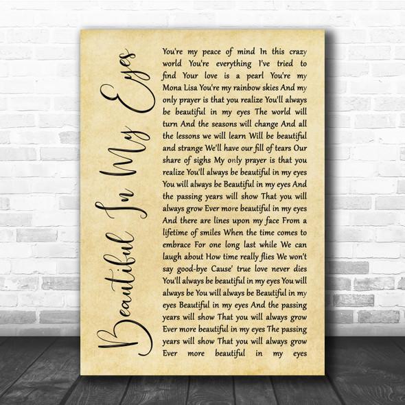 Joshua Kadison Beautiful In My Eyes Rustic Script Song Lyric Quote Print