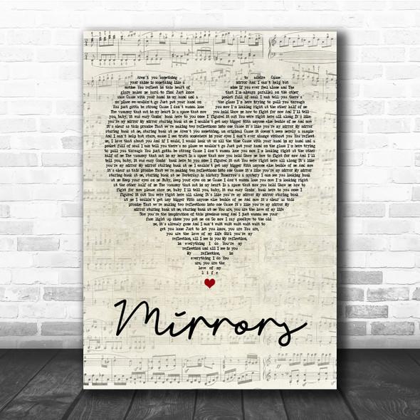 Justin Timberlake Mirrors Script Heart Song Lyric Quote Print