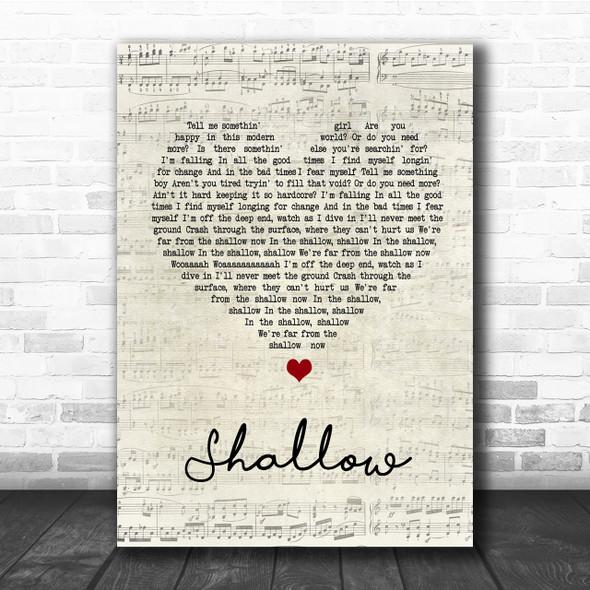 Lady Gaga & Bradley Cooper Shallow Script Heart Song Lyric Quote Print