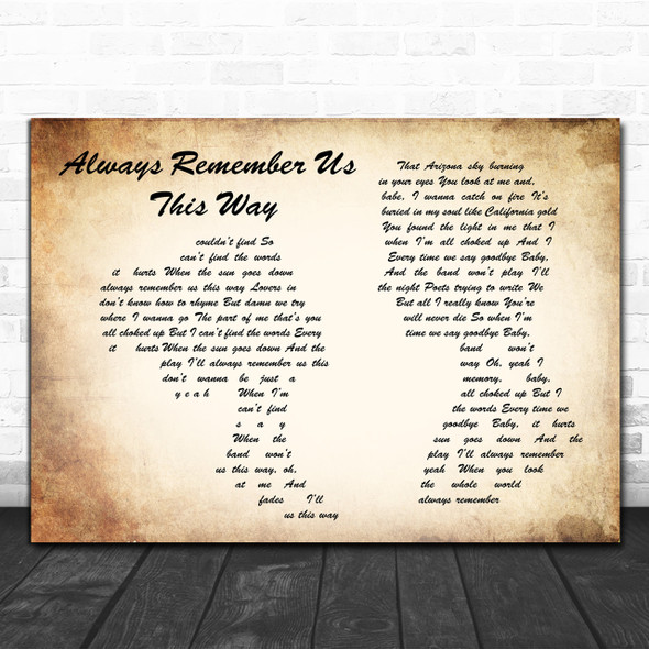Lady Gaga Always Remember Us This Way Man Lady Couple Song Lyric Quote Print