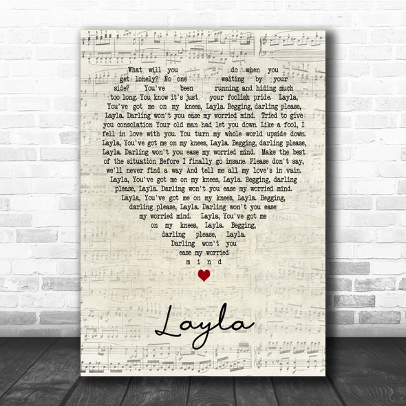 Layla Eric Clapton Script Heart Song Lyric Quote Print