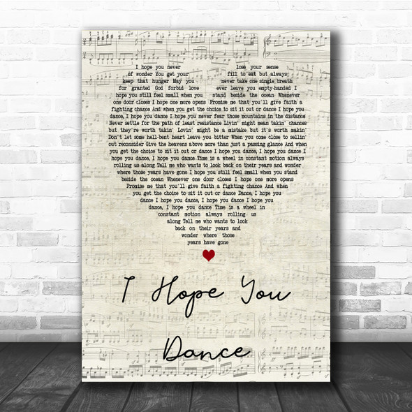 Lee Ann Womack I Hope You Dance Script Heart Song Lyric Quote Print