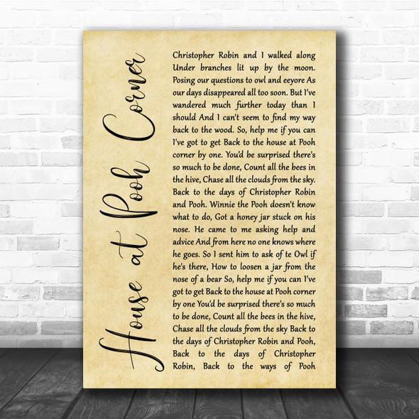 Loggins & Messina House at Pooh Corner Rustic Script Song Lyric Quote Print