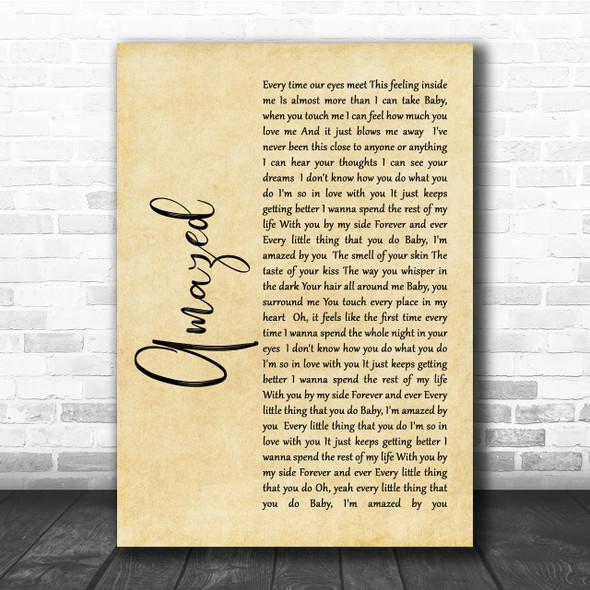 Lonestar Amazed Rustic Script Song Lyric Quote Print