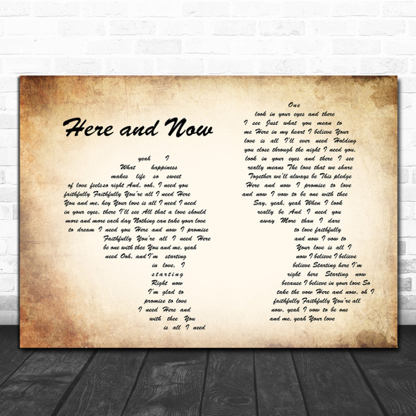 Luther Vandross Here and Now Man Lady Couple Song Lyric Quote Print