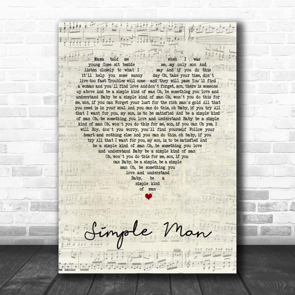 Lynyrd Skynyrd Simple Man Script Heart Song Lyric Quote Print
