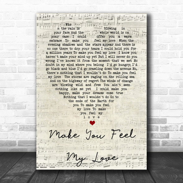 Make You Feel My Love Adele Script Heart Quote Song Lyric Print