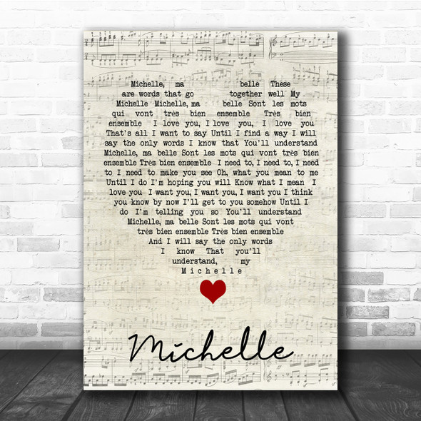 Michelle The Beatles Script Heart Quote Song Lyric Print