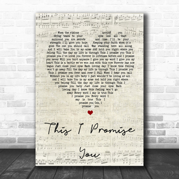 N Sync This I Promise You Script Heart Song Lyric Quote Print