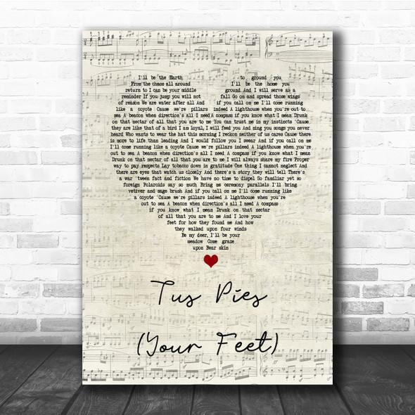 Nahko Medicine For The People Tus Pies Your Feet Script Heart Song Lyric Print