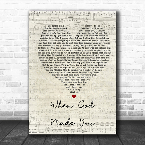 Newsong When God Made You Script Heart Song Lyric Quote Print