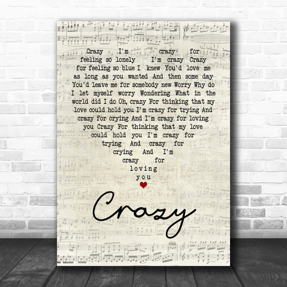 Patsy Cline Crazy Script Heart Song Lyric Quote Print